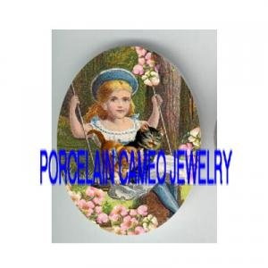 VICTORIAN GIRL SWING WITH 2 KITTY CAT* UNSET PORCELAIN CAMEO CAB