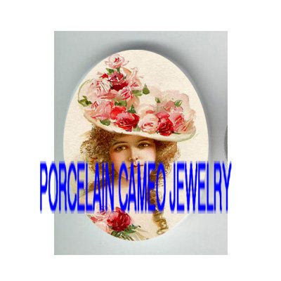 VICTORIAN YOUNG LADY ROSE HAT* UNSET PORCELAIN CAMEO CAB
