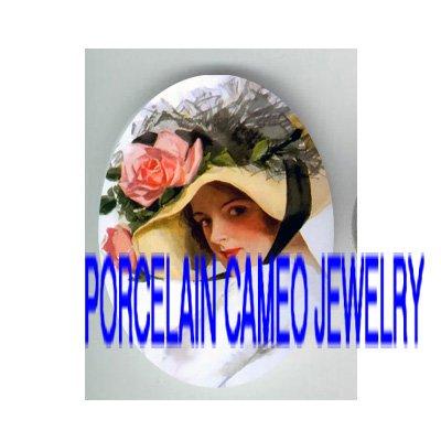 VICTORIAN  LADY ROSE LACE HAT* UNSET PORCELAIN CAMEO CAB