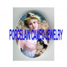 VICTORIAN LADY HOLD BLACK WHITE KITTY CAT ROSE* UNSET PORCELAIN CAMEO CAB