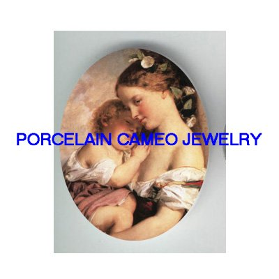 VICTORIAN MOM CUDDLE BABY CHILD * UNSET PORCELAIN CAMEO CAB