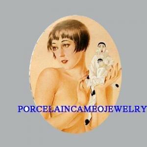 ART DECO FLAPPER LADY PIERROT MIME * UNSET CAMEO PORCELAIN CABOCHON