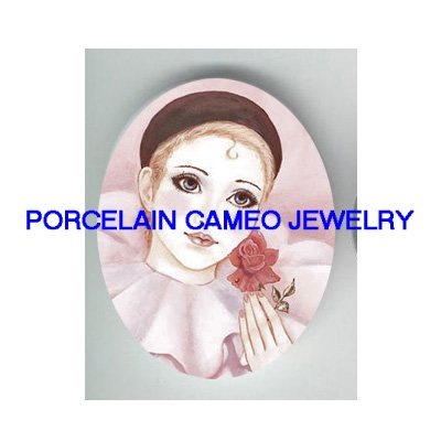 FRENCH PINK PIERROT WITH ROSE * UNSET PORCELAIN CAMEO CAB
