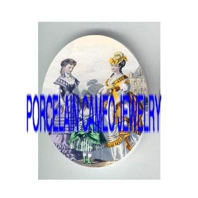 2 VICTORIAN LADY WITH LITTLE GIRL* UNSET PORCELAIN CAMEO CAB
