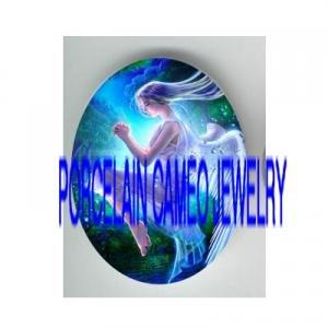 BLUE BUBBLE ANGEL* UNSET PORCELAIN CAMEO CABOCHON 30X40MM