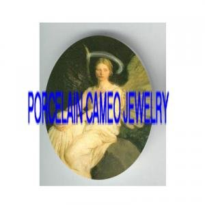 VICTORIAN WHITE ANGEL WITH HALO* UNSET PORCELAIN CAMEO CAB
