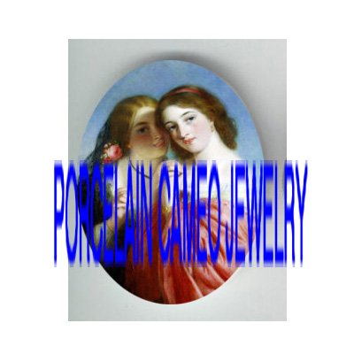 2 VICTORIAN SISTERS BEST FRIEND ROSE * UNSET PORCELAIN CAMEO CAB