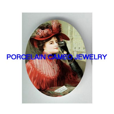 VICTORIAN RED DRESS LADY DRINK WATER * UNSET PORCELAIN CAMEO CAB