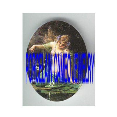 VICTORIAN MERMAID PLAY WITH FISH WATER LILY * UNSET PORCELAIN CAMEO CAB