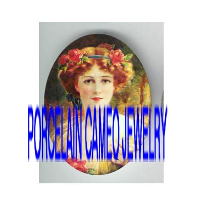 VICTORIAN ROSE FLOWER WREATH LADY * UNSET PORCELAIN CAMEO CAB