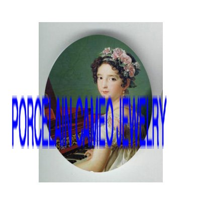 VICTORIAN LADY WITH ROSE PLAY PIANO * UNSET PORCELAIN CAMEO CAB