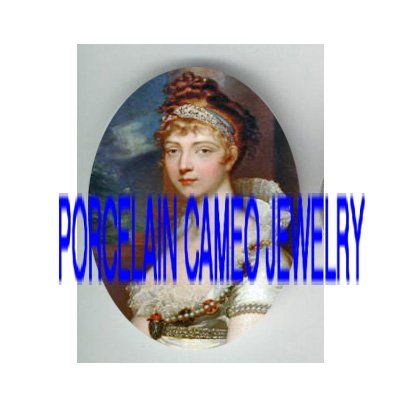 VICTORIAN JEWELED ROYAL PRINCESS * UNSET PORCELAIN CAMEO CAB