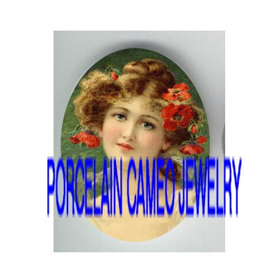 VICTORIAN SWEET POPPY YOUNG LADY * UNSET PORCELAIN CAMEO CAB