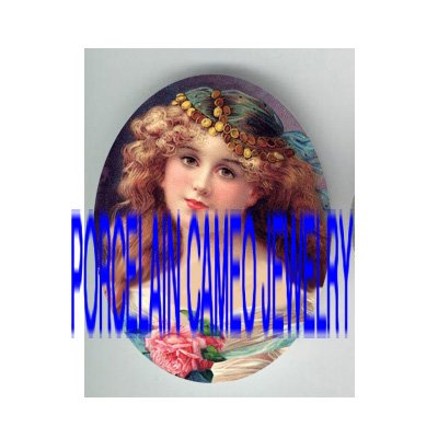 VICTORIAN GYPSY ROSE LADY * UNSET PORCELAIN CAMEO CAB