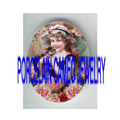 VICTORIAN GIRL HOLDING KITTY CAT ROSE* UNSET PORCELAIN CAMEO CAB