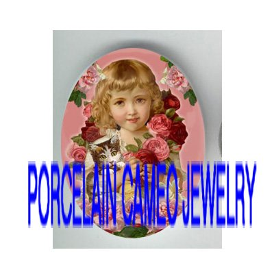 VICTORIAN SWEET ROSE GIRL HOLD KITTY CAT* UNSET PORCELAIN CAMEO CAB