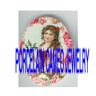 VICTORIAN LADY HOLD LILY OF THE VALLEY* UNSET PORCELAIN CAMEO CAB
