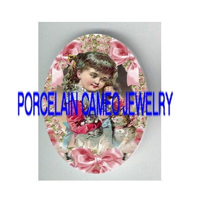 VICTORIAN GIRL HOLD KITTY CAT MOM BABY FAMILY PINK RIBBON* UNSET PORCELAIN CAMEO CAB