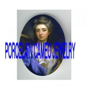 VICTORIAN BLUE LACE DRESS LADY * UNSET PORCELAIN CAMEO CAB