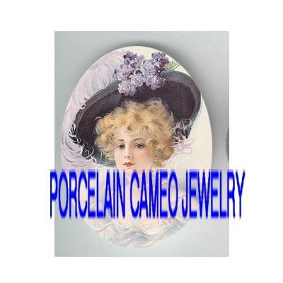 VICTORIAN LACE VIOLET HAT LADY * UNSET PORCELAIN CAMEO CAB