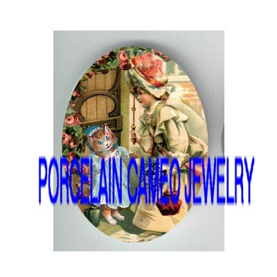 VICTORIAN GIRL VISIT KITTY CAT ROSE* UNSET PORCELAIN CAMEO CAB
