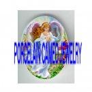 PINK ANGEL HOLDING ROSE* UNSET PORCELAIN CAMEO CAB