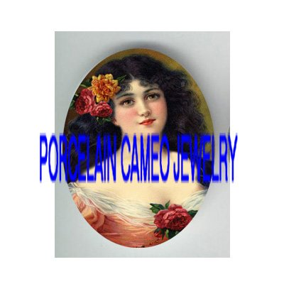VICTORIAN ROSE BLACK HAIR LADY PORCELAIN CAMEO CAB
