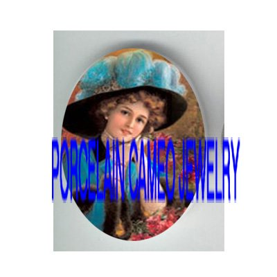 VICTORIAN BLUE FEATHER HAT LADY  * UNSET PORCELAIN CAMEO CAB