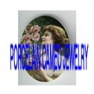 VICTORIAN LADY SMELL/PICK ROSE* UNSET PORCELAIN CAMEO CAB