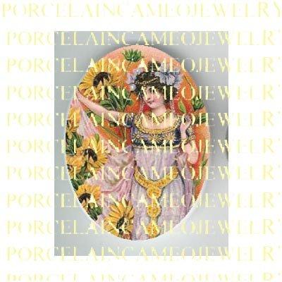 ART NOUVEAU SUNFLOWER LADY GODDESS  * UNSET PORCELAIN CAMEO CAB
