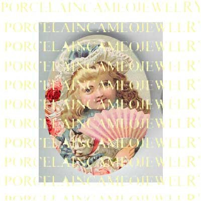 VICTORIAN CHILD WITH FAN KITTY CAT ROSE  * UNSET PORCELAIN CAMEO CAB