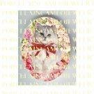 GREY PERSIAN KITTY CAT ROSE* UNSET PORCELAIN CAMEO CAB