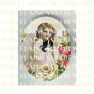 VICTORIAN VIOLET ANGEL GIRL HOLD KITTY CAT ROSE* UNSET PORCELAIN CAMEO CAB