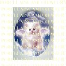 WHITE PERSIAN ANGEL KITTY CAT WITH HALO* UNSET PORCELAIN CAMEO CAB