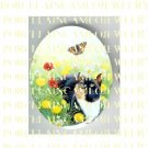 CAT CHASING BUTTERFLY POPPY DAISY  * UNSET PORCELAIN CAMEO CAB