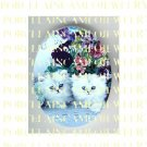 2 WHITE PERSIAN  KITTY CAT PURPLE PANSY  * UNSET PORCELAIN CAMEO CAB