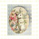 VICTORIAN EASTER BUNNY RABBIT EGG ROSE* UNSET PORCELAIN CAMEO CAB