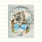 VICTORIAN KITTY CAT BLUE RIBBON ROSE * UNSET PORCELAIN CAMEO CAB