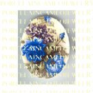 VICTORIAN BLUE ROSE WITH VIOLET * UNSET PORCELAIN CAMEO CAB