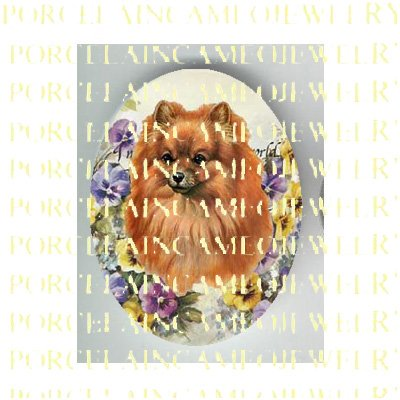 POMERANIAN DOG WITH PANSY FLOWER* UNSET PORCELAIN CAMEO CAB