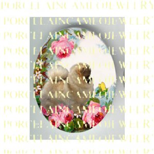 POMERANIAN DOG CHASING BUTTERFLY ROSE* UNSET PORCELAIN CAMEO CAB