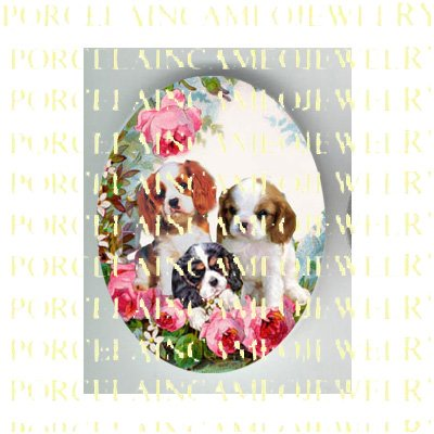 3 CAVALIER KING SPANIEL PUPPY DOG ROSE* UNSET PORCELAIN CAMEO CAB