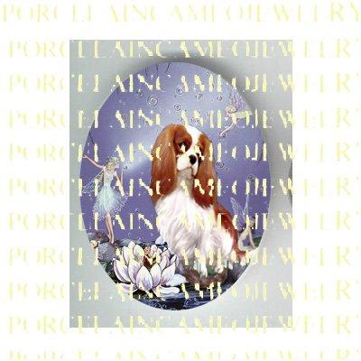 CAVALIER KING SPANIEL DOG BUBBLE FAIRY* UNSET PORCELAIN CAMEO CAB