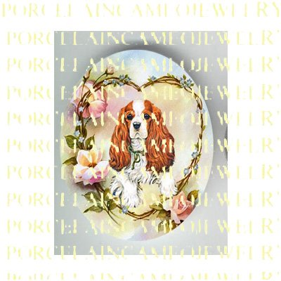 CAVALIER KING SPANIEL DOG ROSE HEART* UNSET PORCELAIN CAMEO CAB