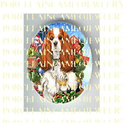 CAVALIER KING SPANIEL DOG CHRISTMAS GIFT* UNSET PORCELAIN CAMEO CAB