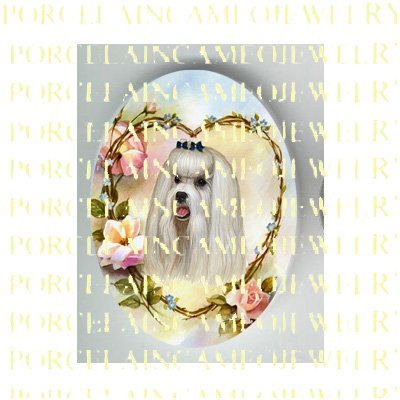 MALTESE DOG ROSE HEART FORGET ME NOT* UNSET PORCELAIN CAMEO CAB