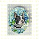 BOSTON TERRIER DOG FORGET ME NOT FLOWER* UNSET PORCELAIN CAMEO CAB