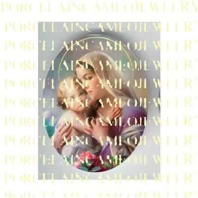 CATHOLIC VIRGIN MARY HOLD BABY JESUS MADONNA CHILD ROSE  * UNSET PORCELAIN CAMEO CAB