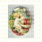 CATHOLIC VIRGIN MARY BABY JESUS KISSING UNSET PORCELAIN CAMEO CAB