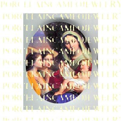 CATHOLIC VIRGIN MARY SLEEP BABY JESUS ANGEL * UNSET PORCELAIN CAMEO CAB